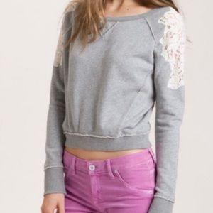 Free People Crop Lace Sleeve Raw Edge Sweatshirt S